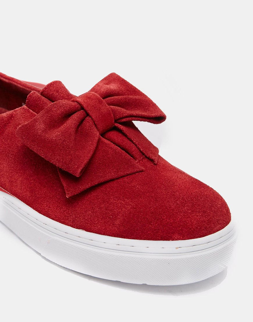 F-Troupe Raspberry Bow Slip On Sneakers