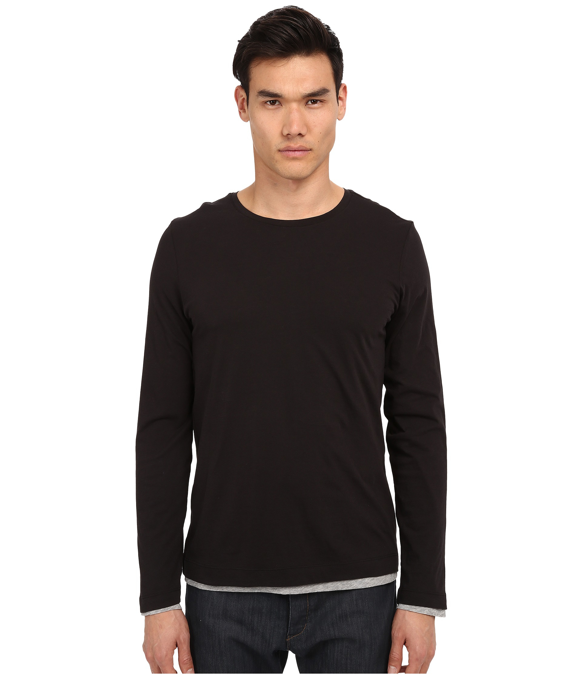 Vince pima long sleeve double layer crew neck t shirt in for Vince tee shirts sale