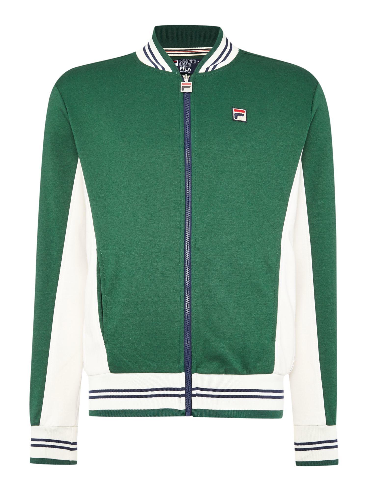 Fila Stripe Detail Zip Through Baseball Jacket in Green for Men | Lyst