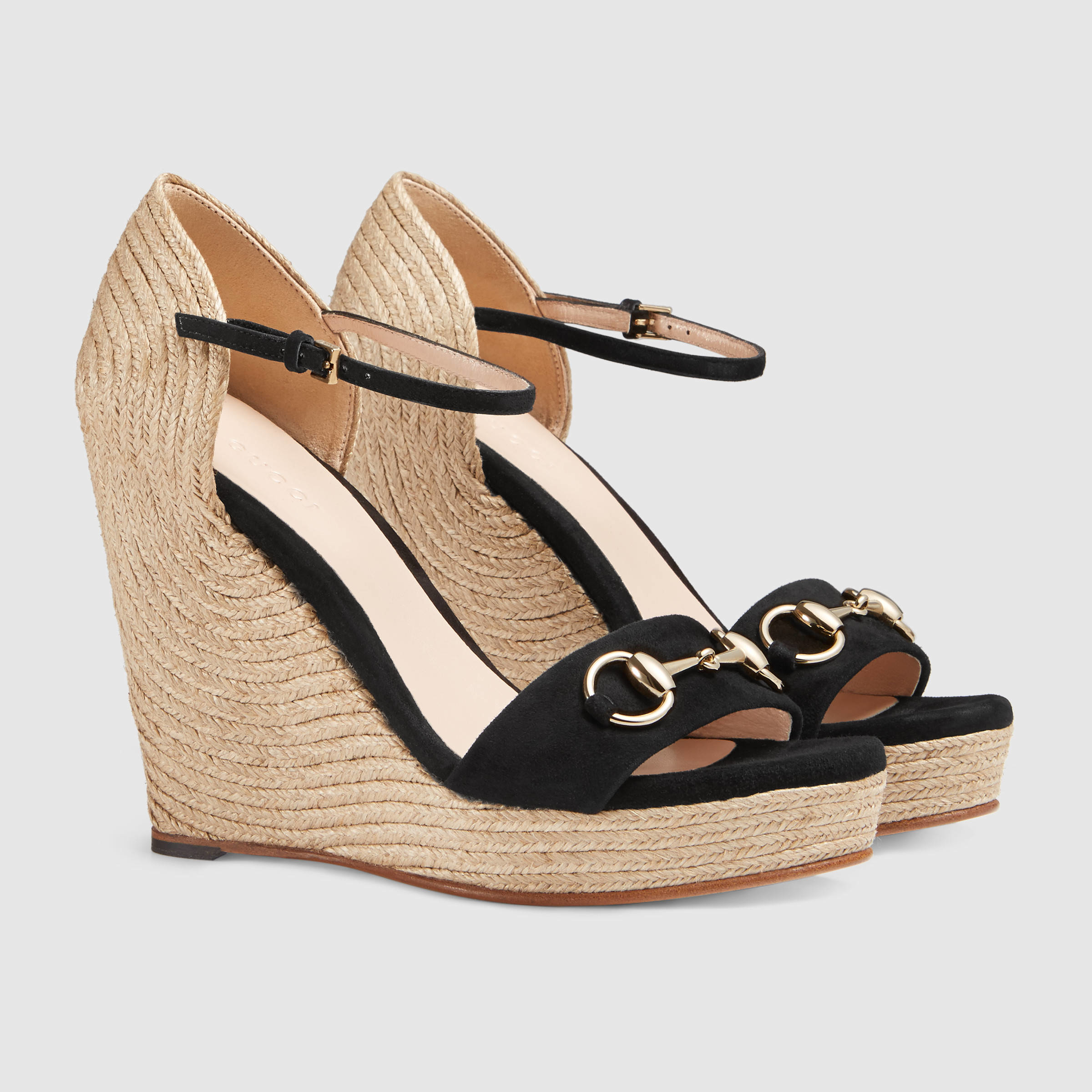3a23ce0d87f3 Lyst - Gucci Horsebit Suede Wedge in Natural