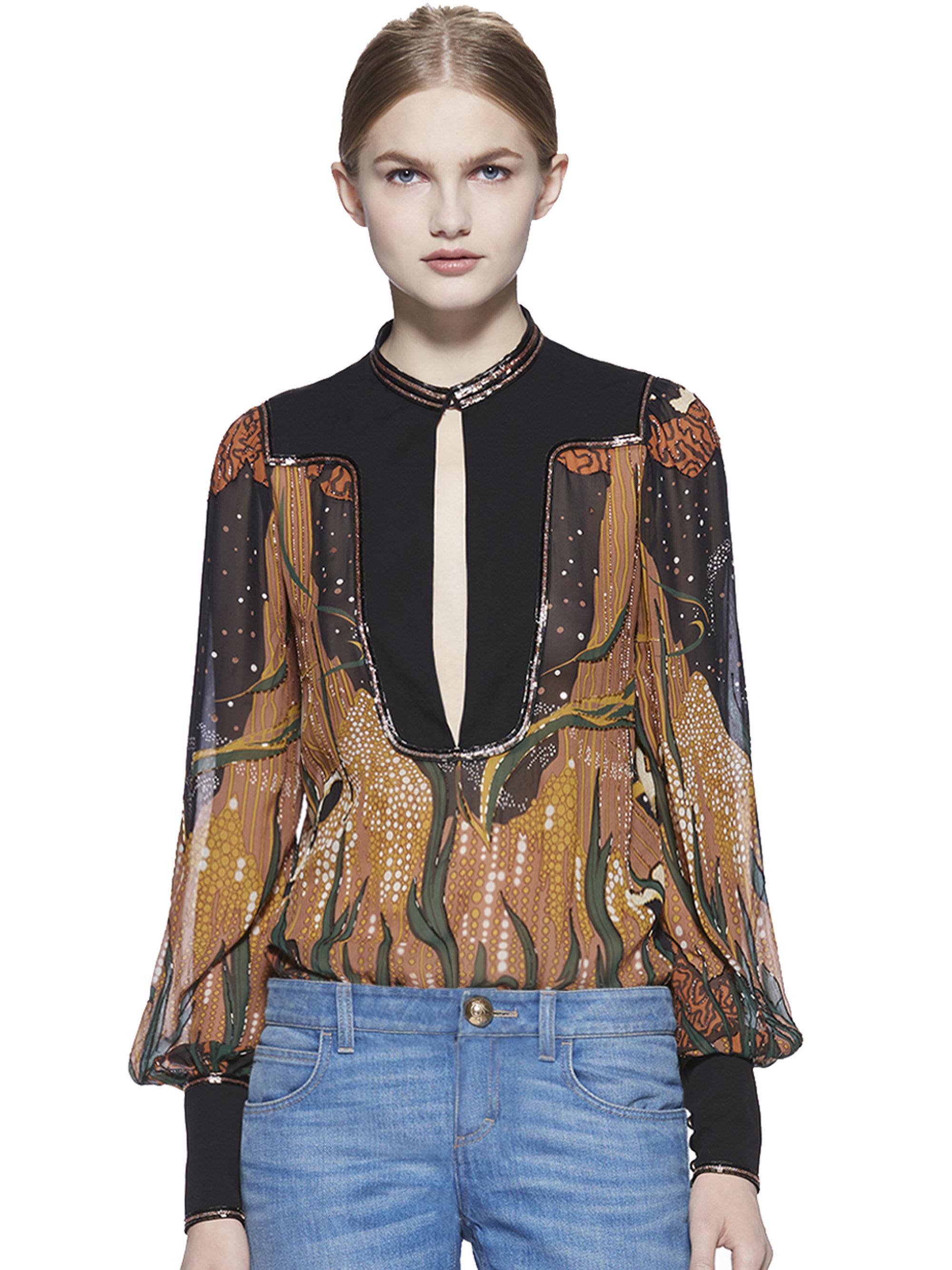 356c0dd1a5 Gucci Black Fantasy-Print Embroidered Silk Shirt