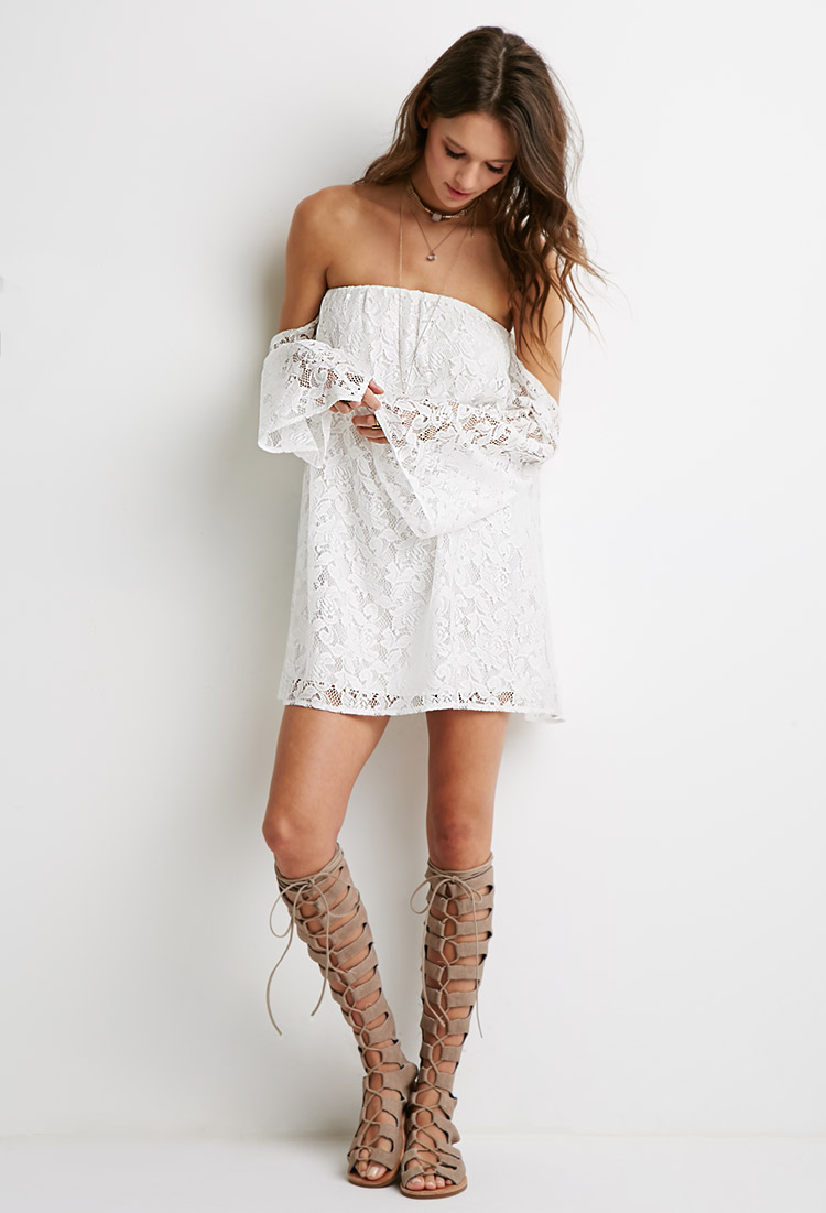 92e7d5ce50 Lyst - Forever 21 Off-the-shoulder Floral Lace Dress in White