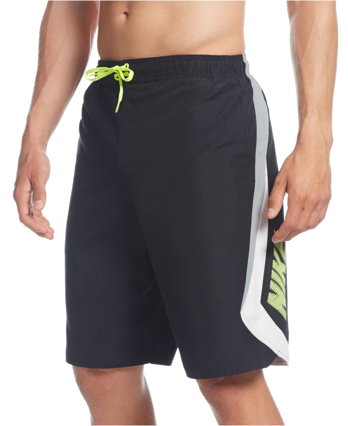 Nike big and tall knetic volley swim trunks in black for for Mens swim shirt big and tall