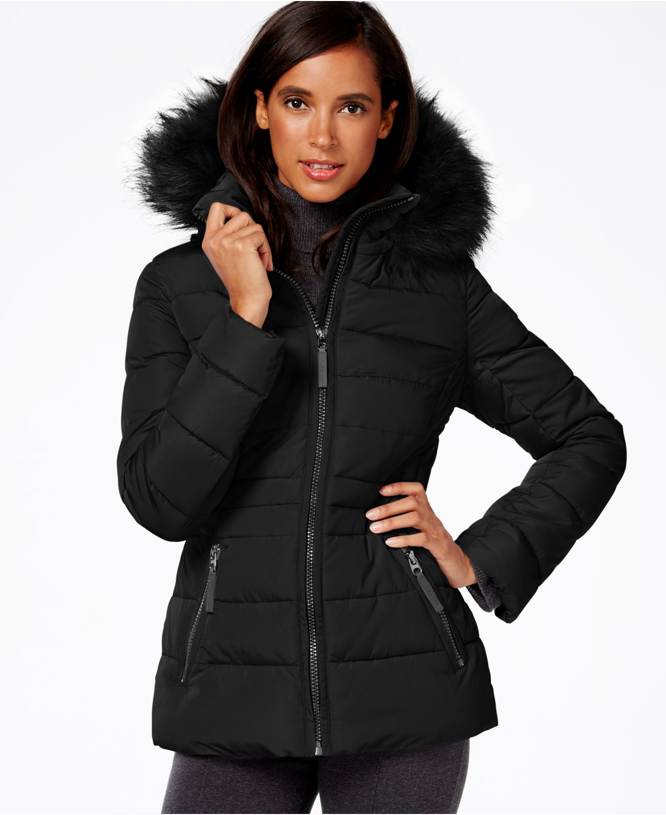 Calvin Klein Water-Resistant Hooded Faux-Fur-Trimmed ...