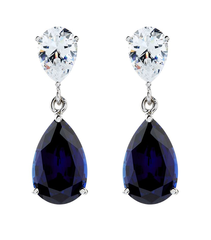 Carat 2 5ct Sapphire Pear Drop Earrings in Blue
