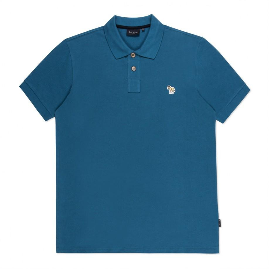 Lyst paul smith petrol blue zebra logo organic cotton for Cotton polo shirts with logo