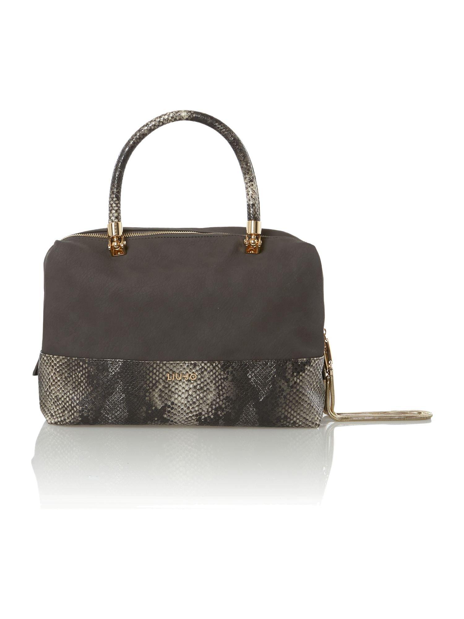 Liu jo Febe Python Grey Snake Bowling Bag in Gray (Grey) | Lyst