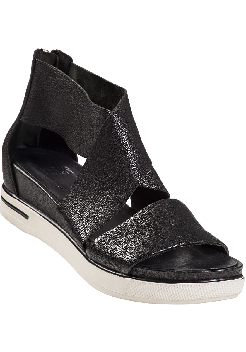 Eileen Fisher Sport Platform Sandal Black Leather In Black