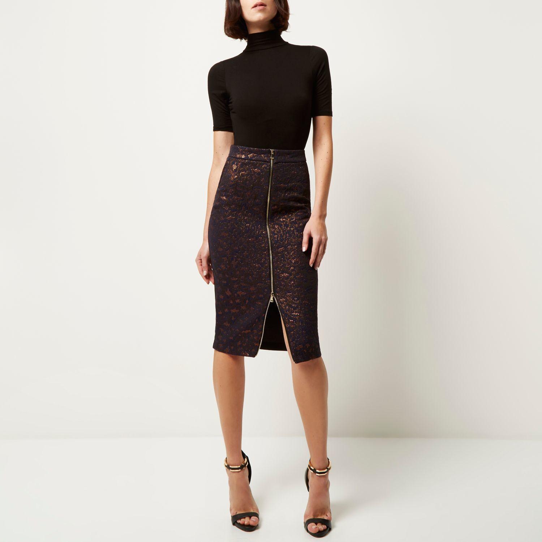 Zip Up Pencil Skirt - Dress Ala