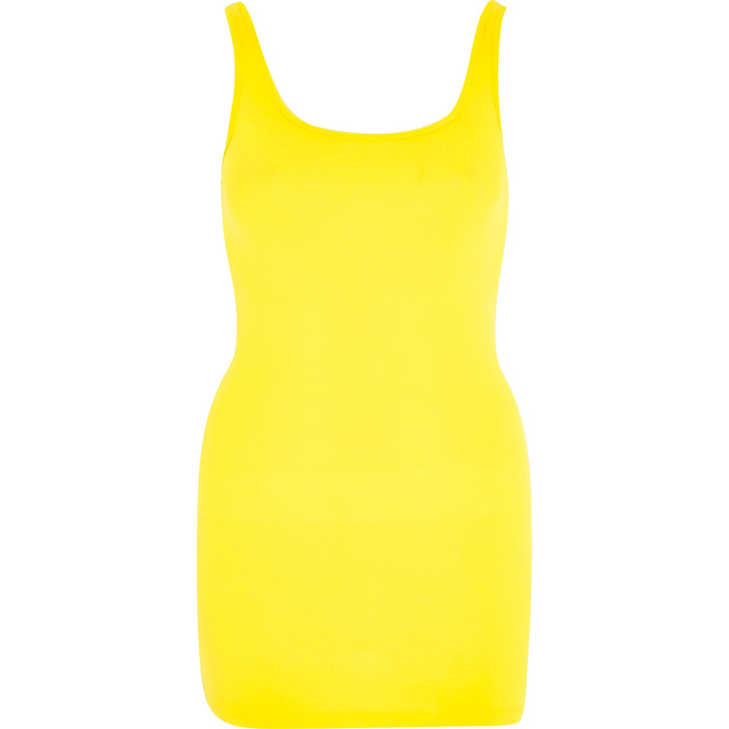 ac2eae1d79893 River Island Bright Yellow Scoop Neck Longline Vest Top in Yellow - Lyst