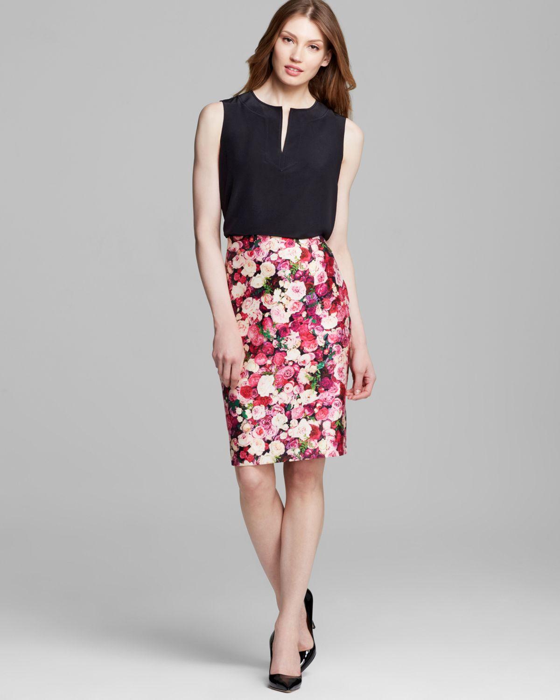 Kate spade new york Rose Print Pencil Skirt | Lyst