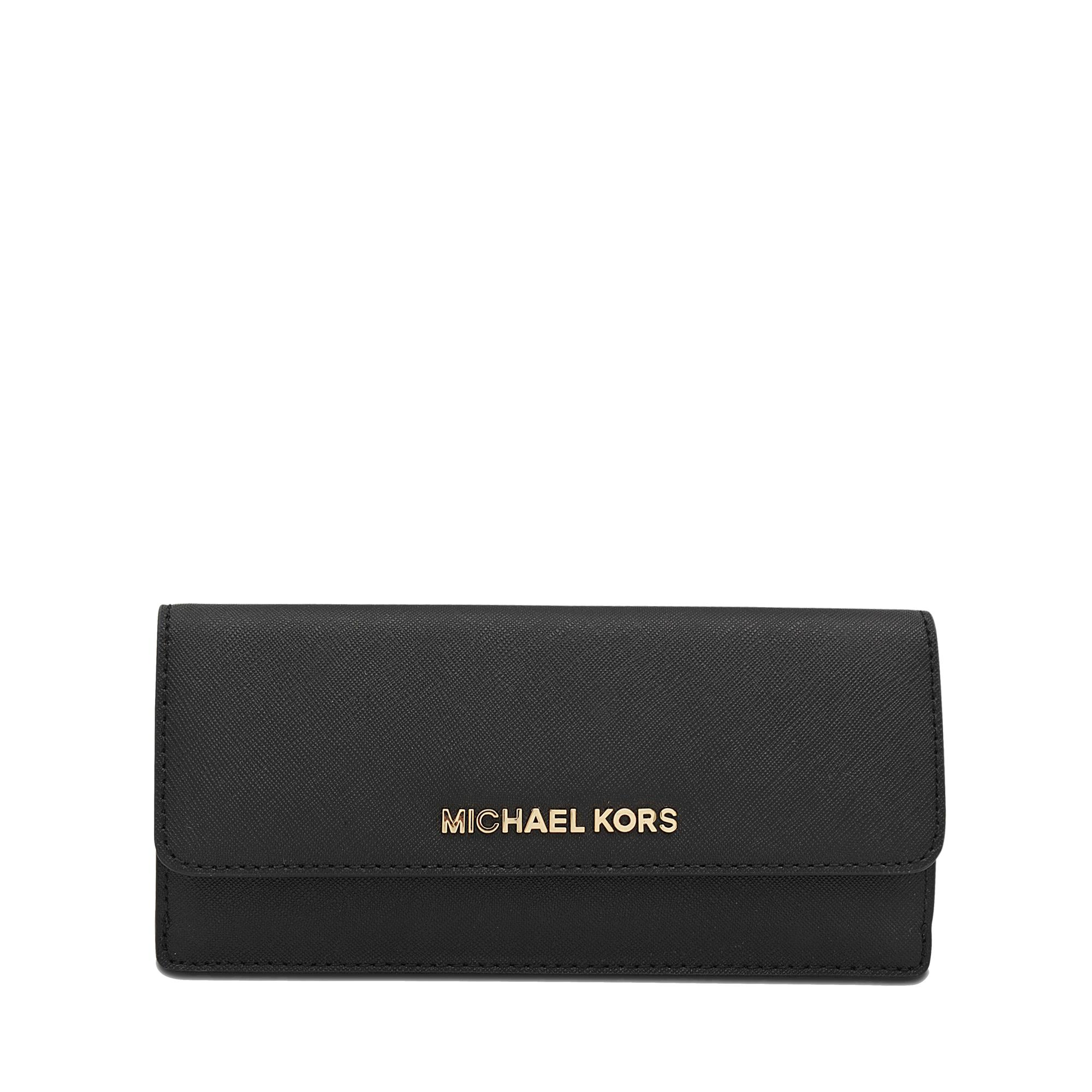michael kors jet set travel flat wallet 18k in black lyst. Black Bedroom Furniture Sets. Home Design Ideas