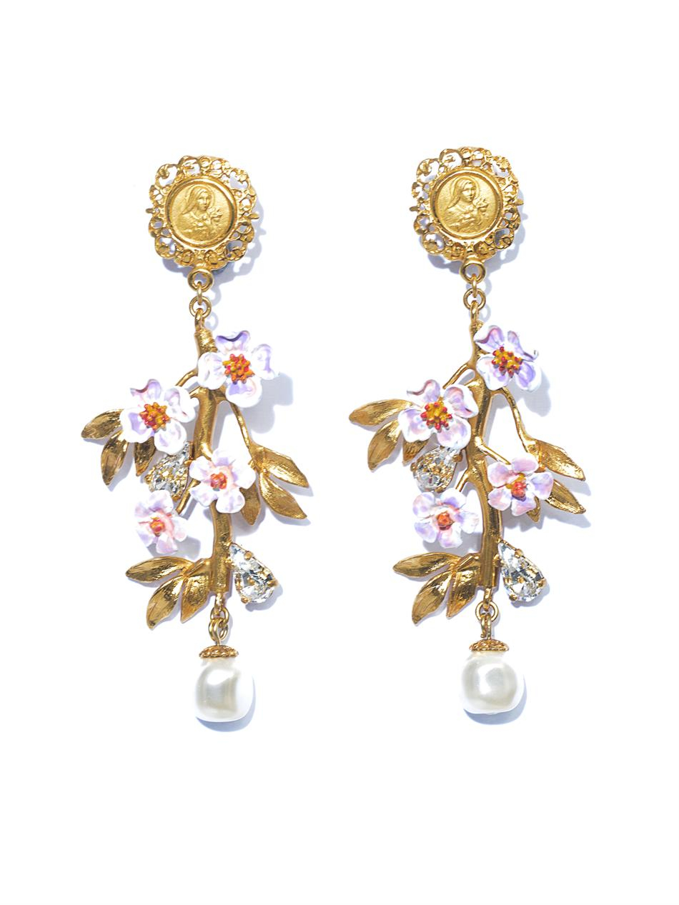 lyst dolce gabbana blossom flower and pearl earrings