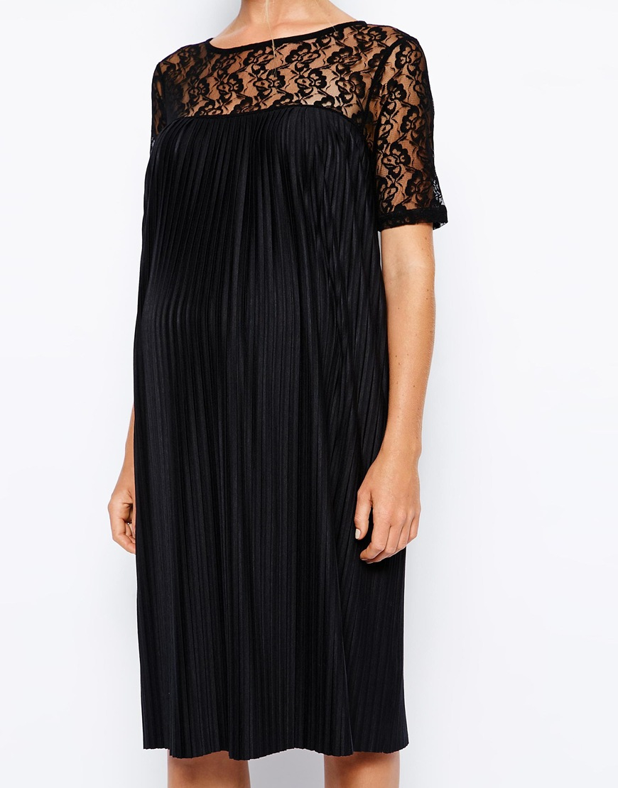 Lyst Asos Exclusive Pleated Swing Dress In Lace In Black