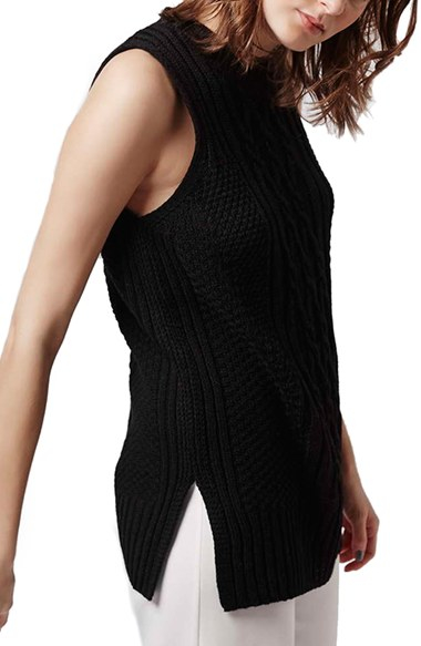 Lyst Topshop Cable Knit Sleeveless Sweater In Black