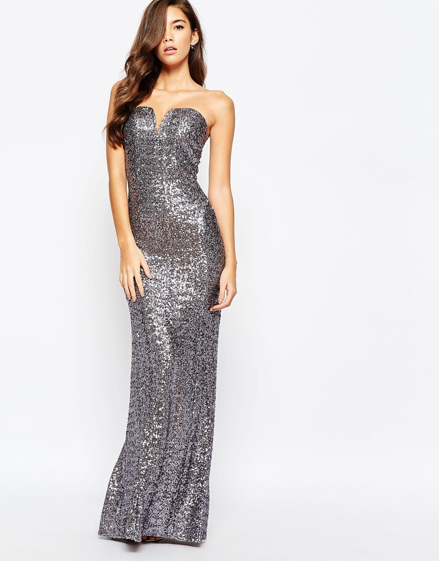 Tfnc London Showstopper Sequin Maxi Dress In Metallic Lyst
