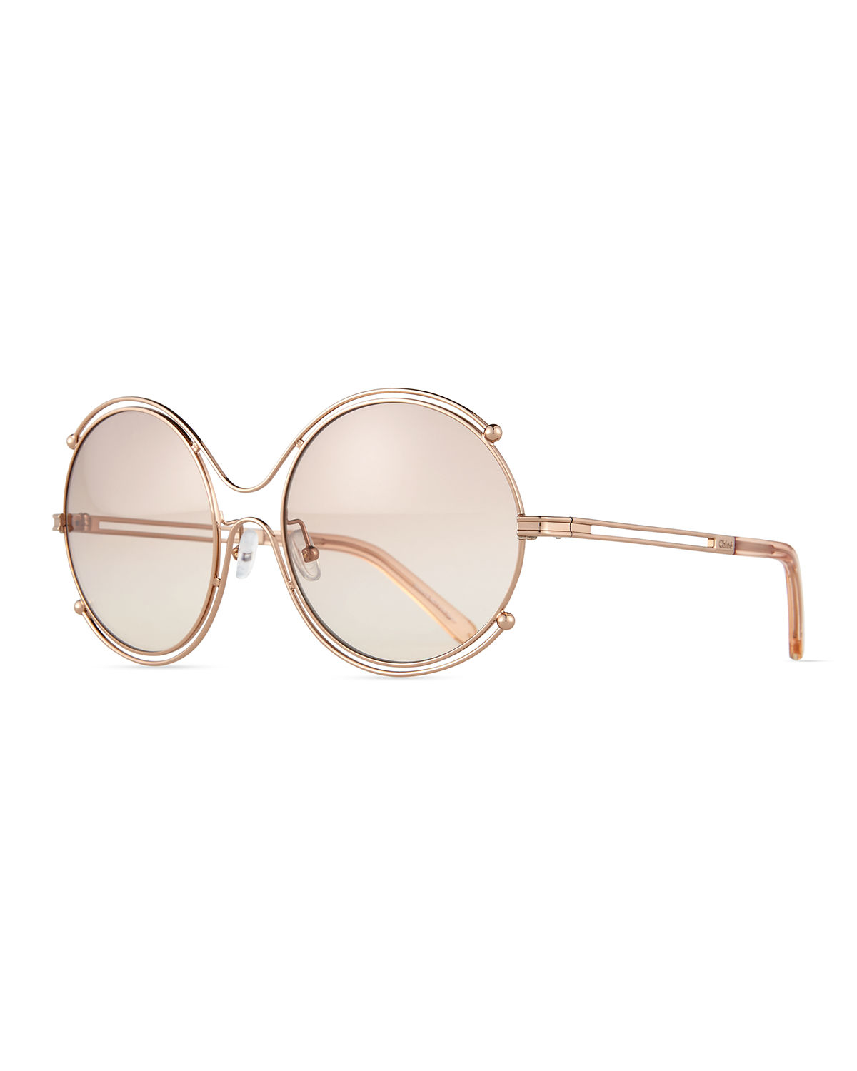 Chloe Gold Frame Sunglasses : Chloe Isidora Wire-rimmed Sunglasses in Pink (ROSE GOLD ...