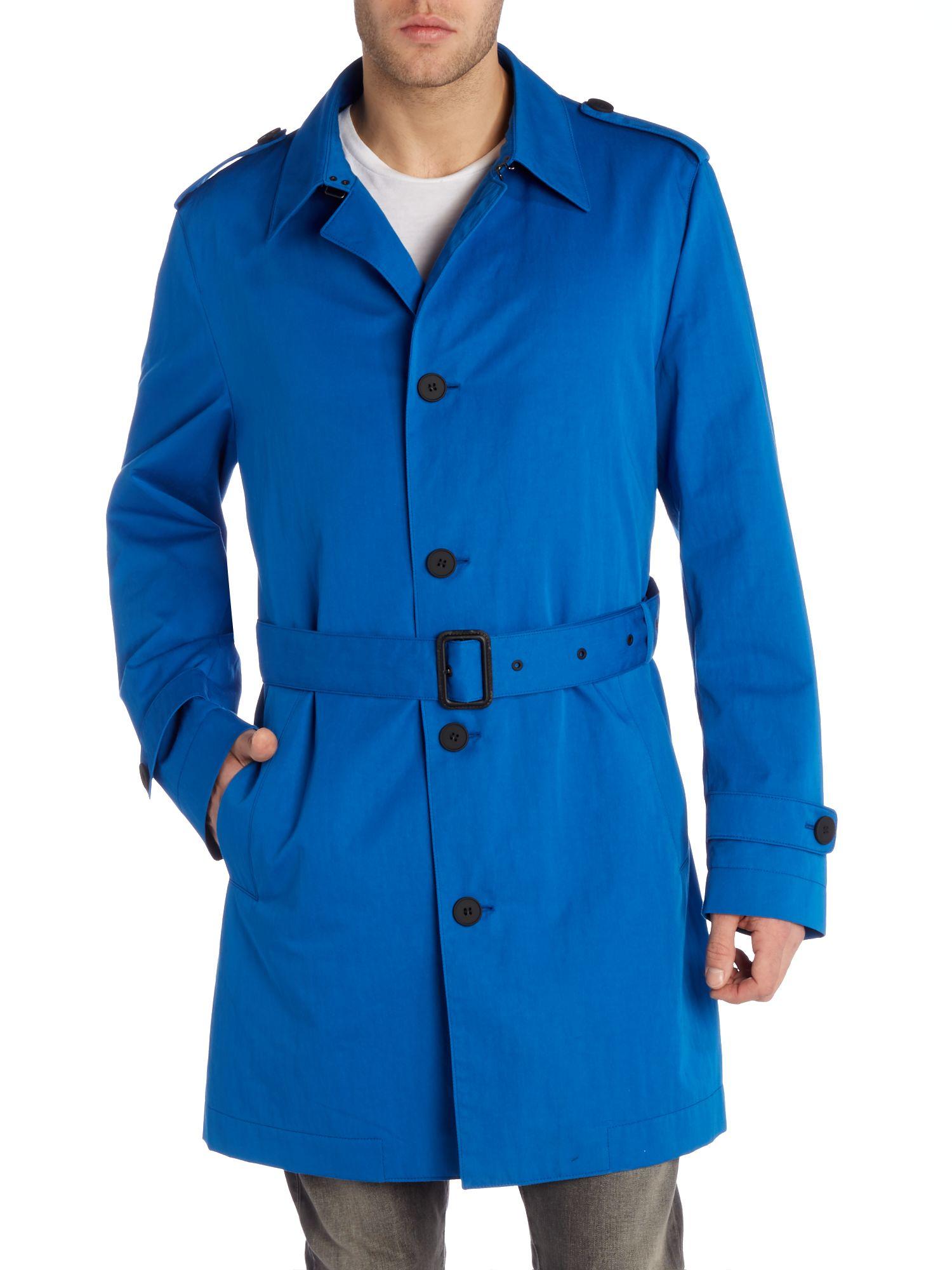 boss trench coat in blue for men lyst. Black Bedroom Furniture Sets. Home Design Ideas