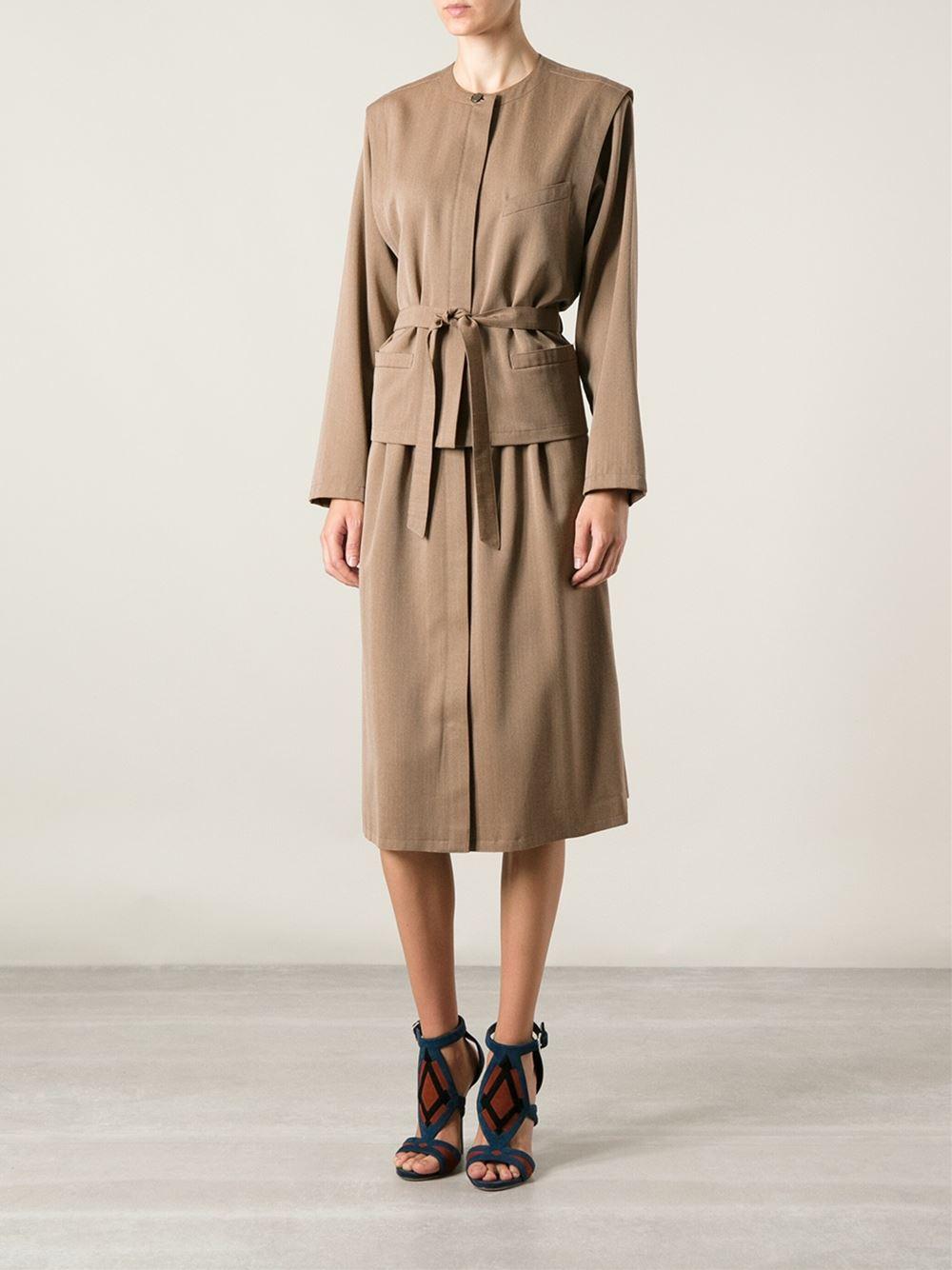louis feraud vintage skirt suit in brown lyst
