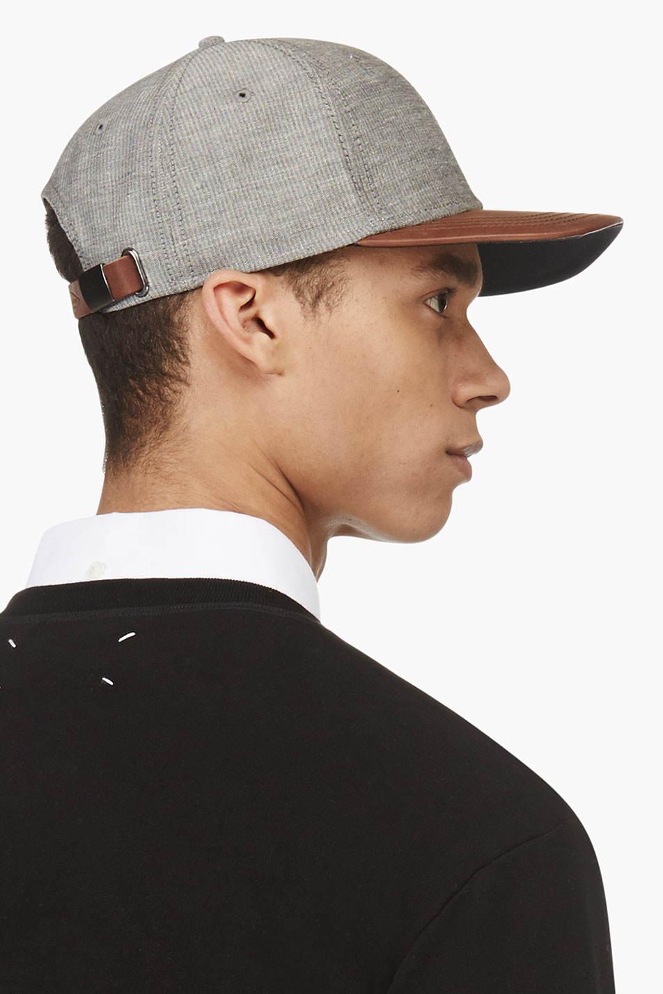 Lyst - Rag   Bone Brown and Grey Leather trimmed Baseball Cap in ... 10ca86b9b2f