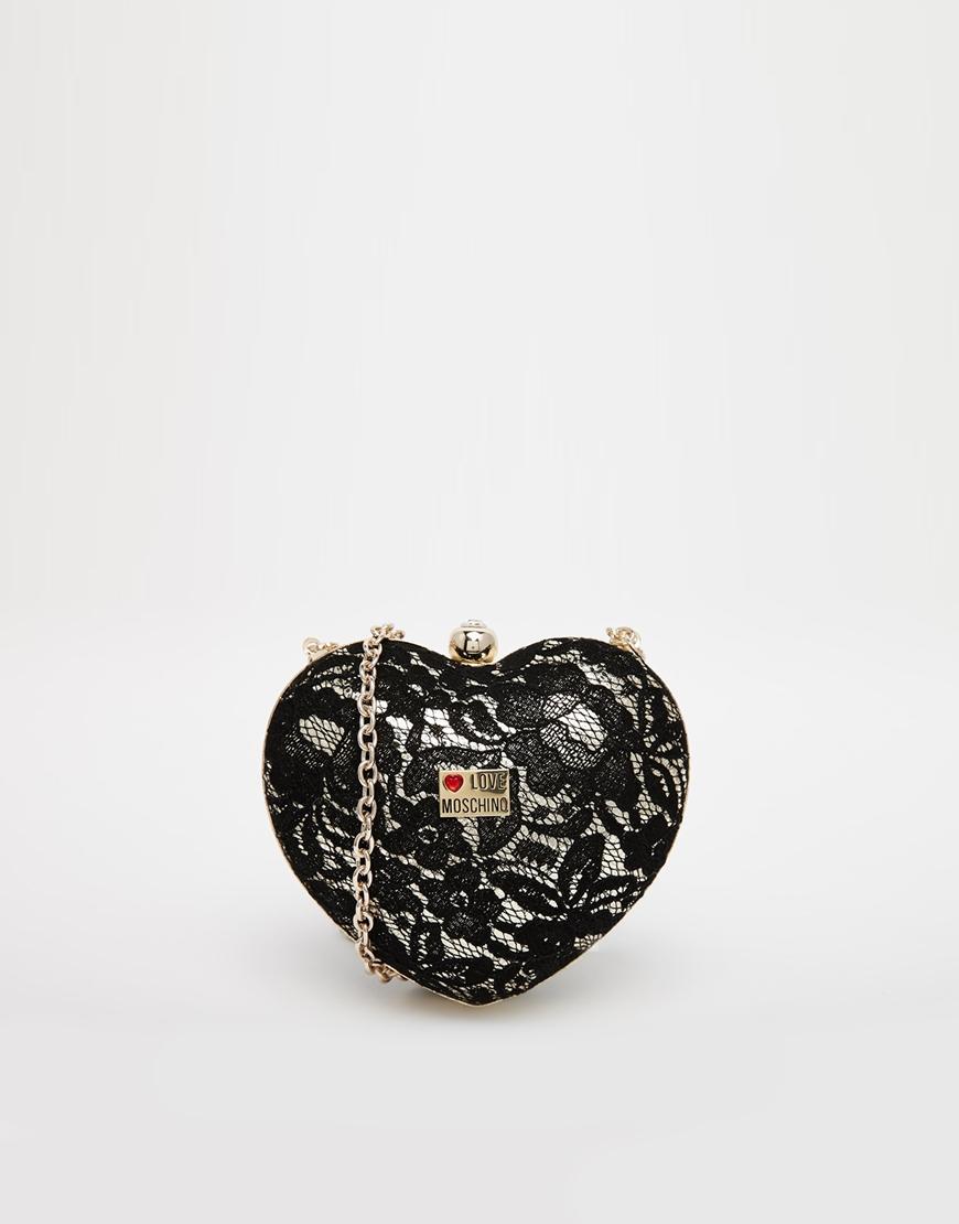 28d353abb1b8b Love Moschino Lace Heart Clutch Bag in Metallic - Lyst