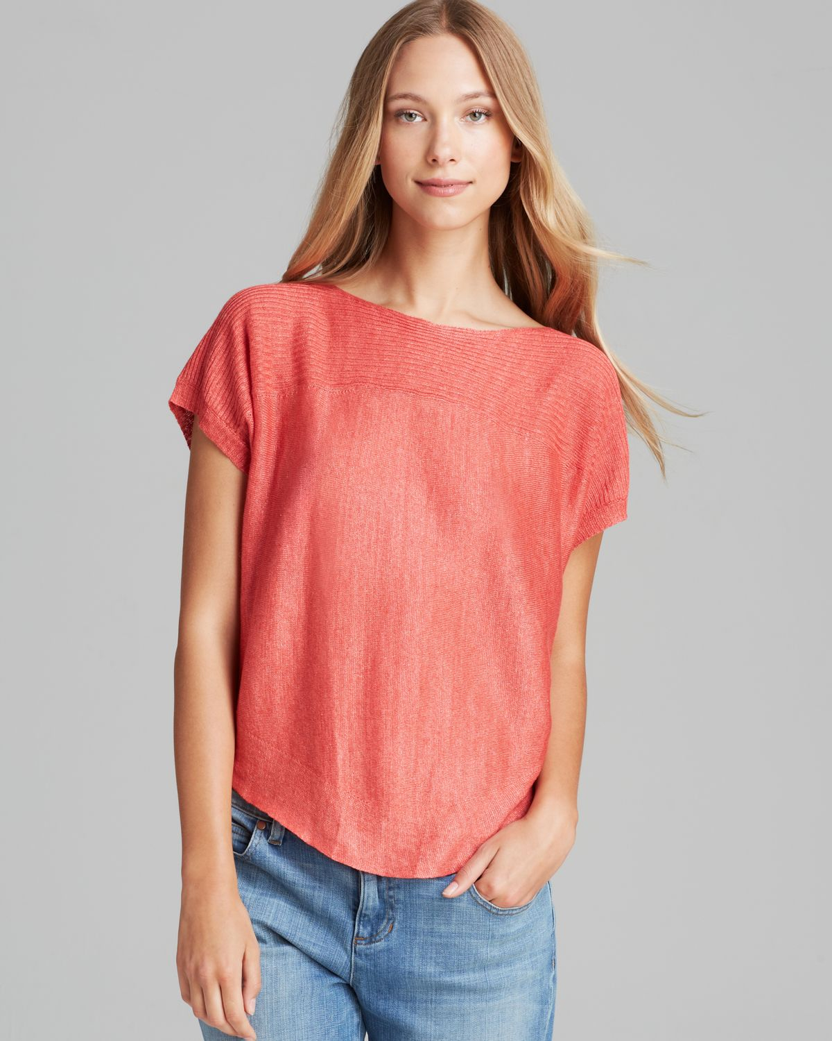 c9f465fd16 Lyst - Eileen Fisher Linen Boat Neck Top in Red