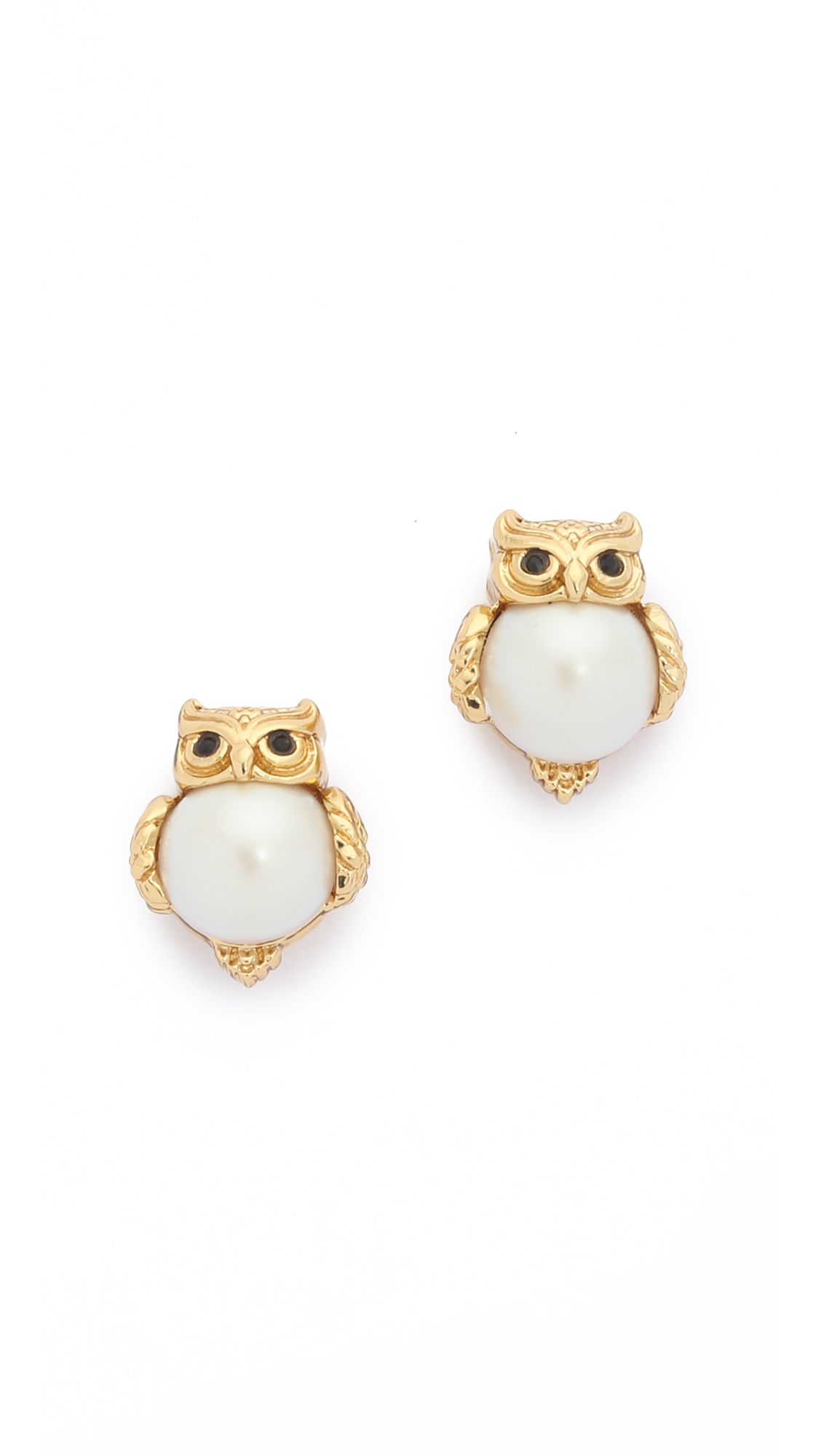 Lyst Kate Spade Into The Woods Owl Stud Earrings Cream