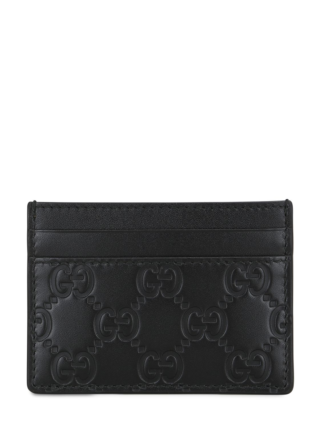 Lyst Gucci Gg Embossed Leather Card Holder In Black