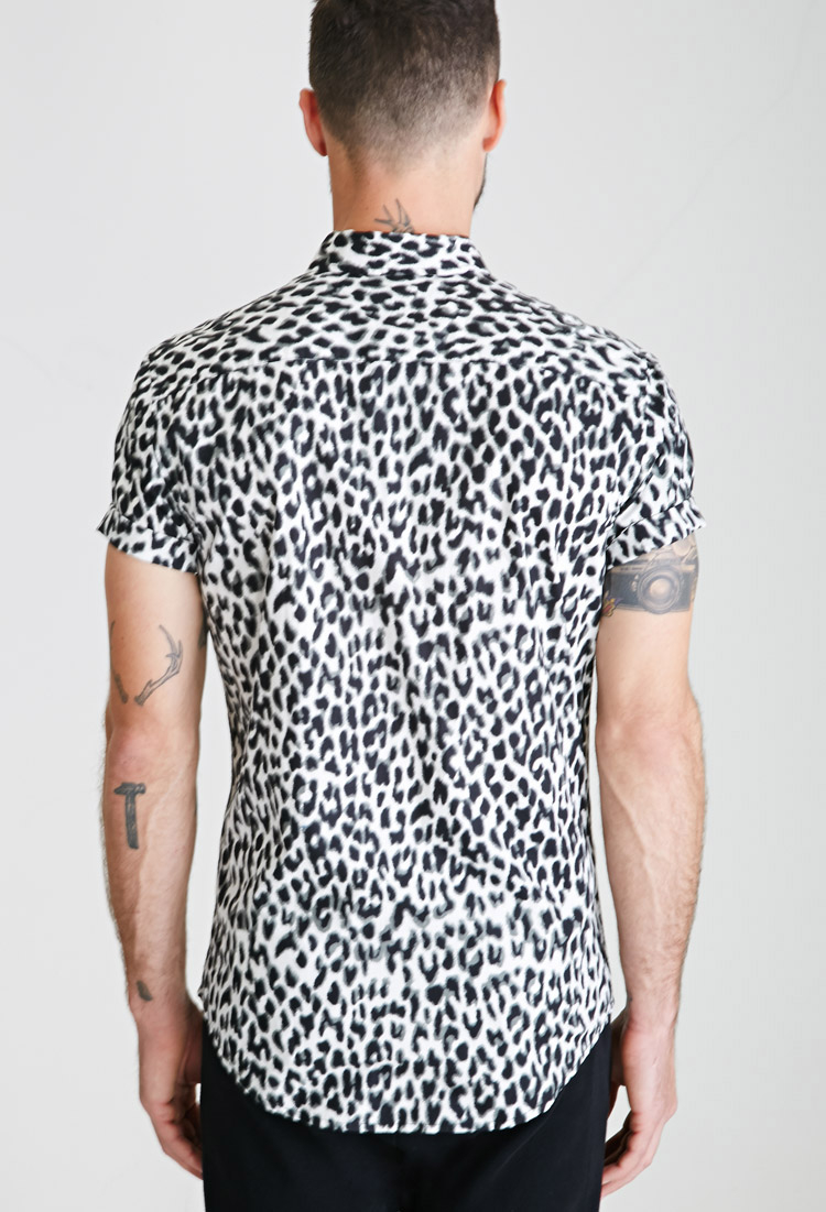 lyst forever 21 leopard print button down shirt for men