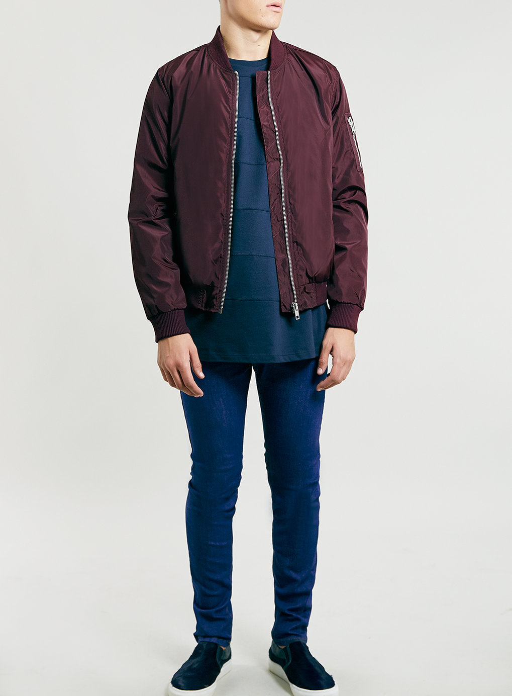 375601e80 TOPMAN Burgundy Heavyweight Bomber Jacket in Purple for Men - Lyst