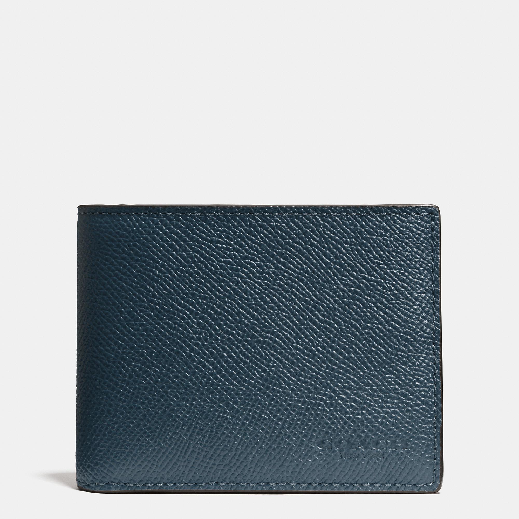 Coach Slim Billfold Wallet In Crossgrain Leather In Blue