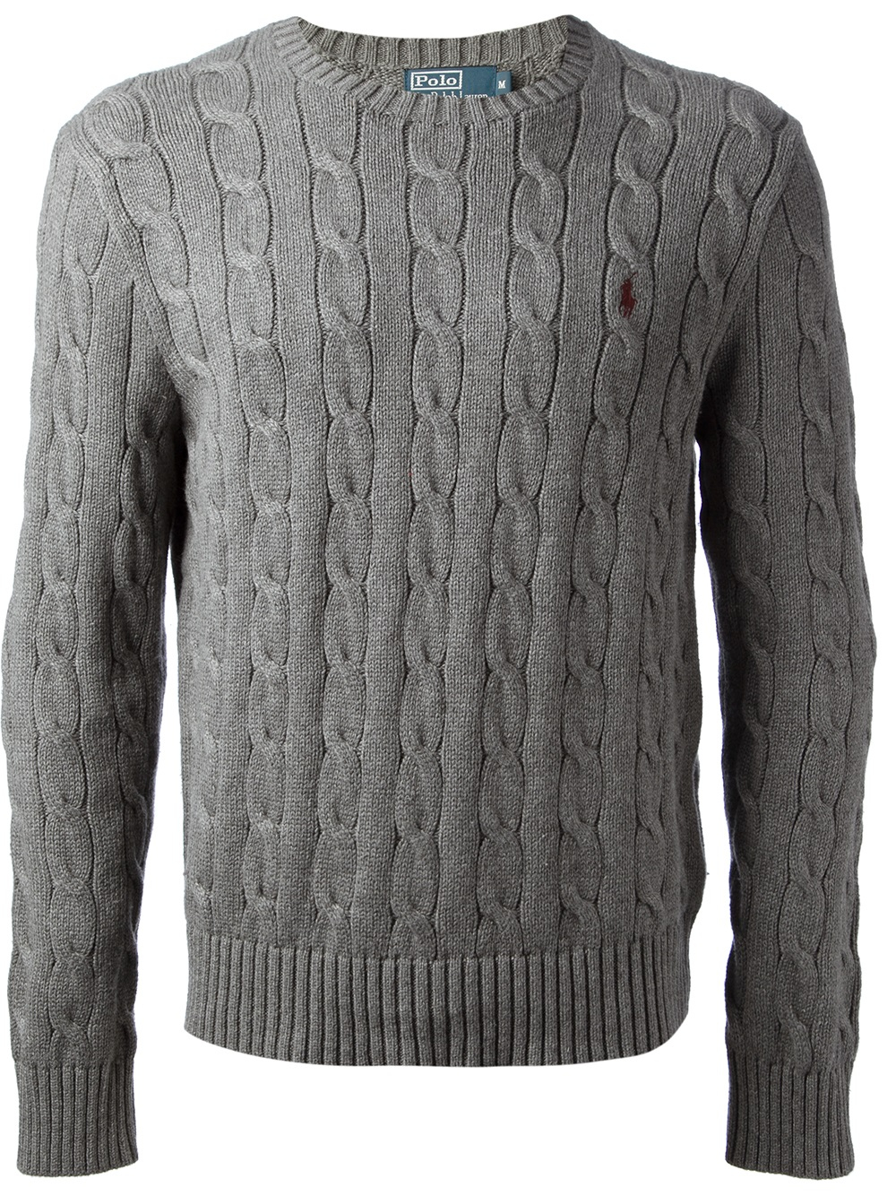 Polo ralph lauren Cable Knit Sweater in Gray for Men | Lyst