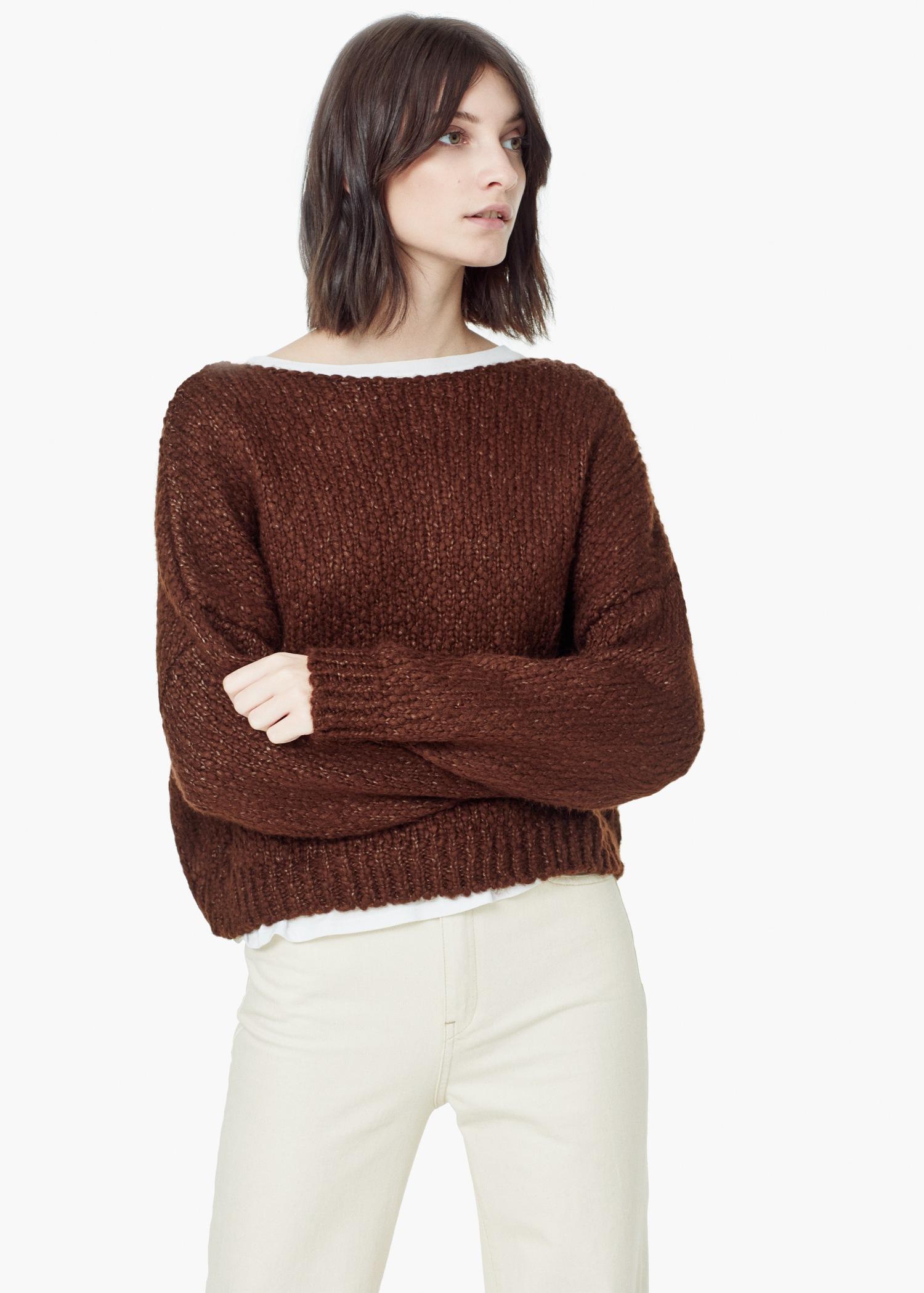 Mango Bouclé Sweater in Brown | Lyst