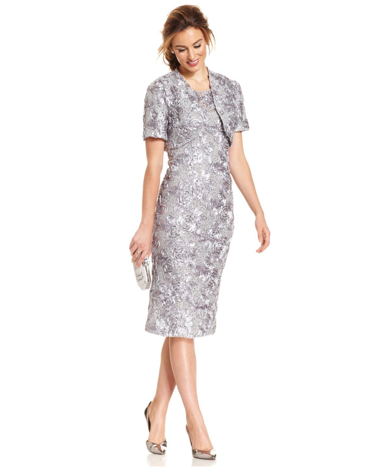 Alex Evenings Petite Soutache Sequin Lace Midi Dress And