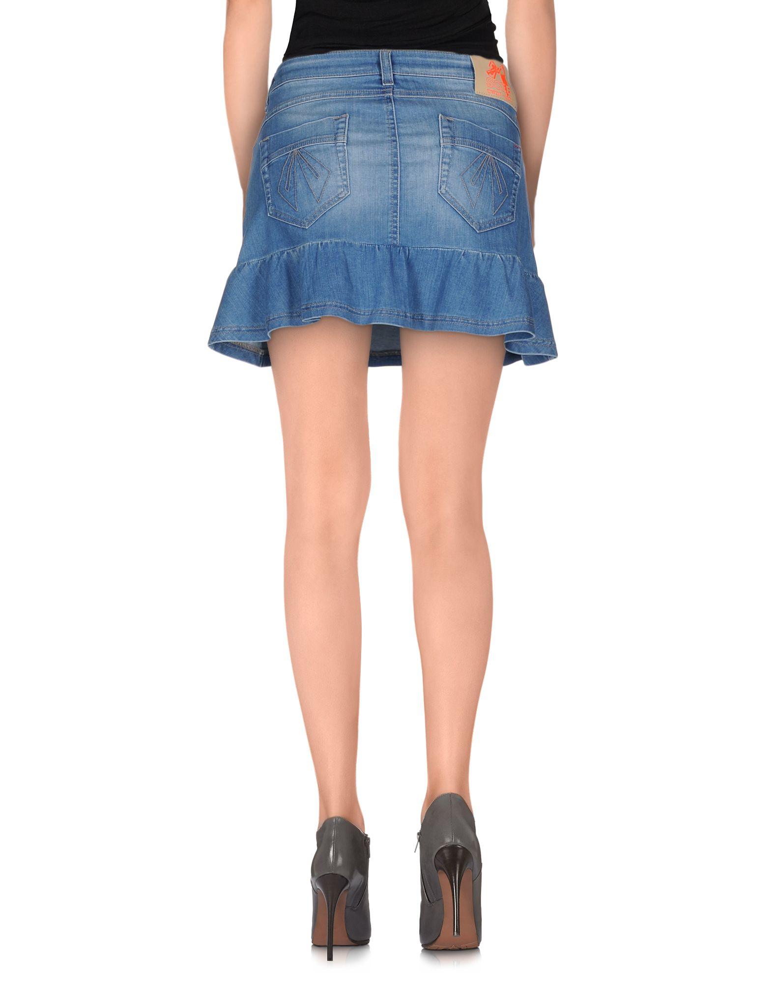 scee by set denim skirt in blue lyst