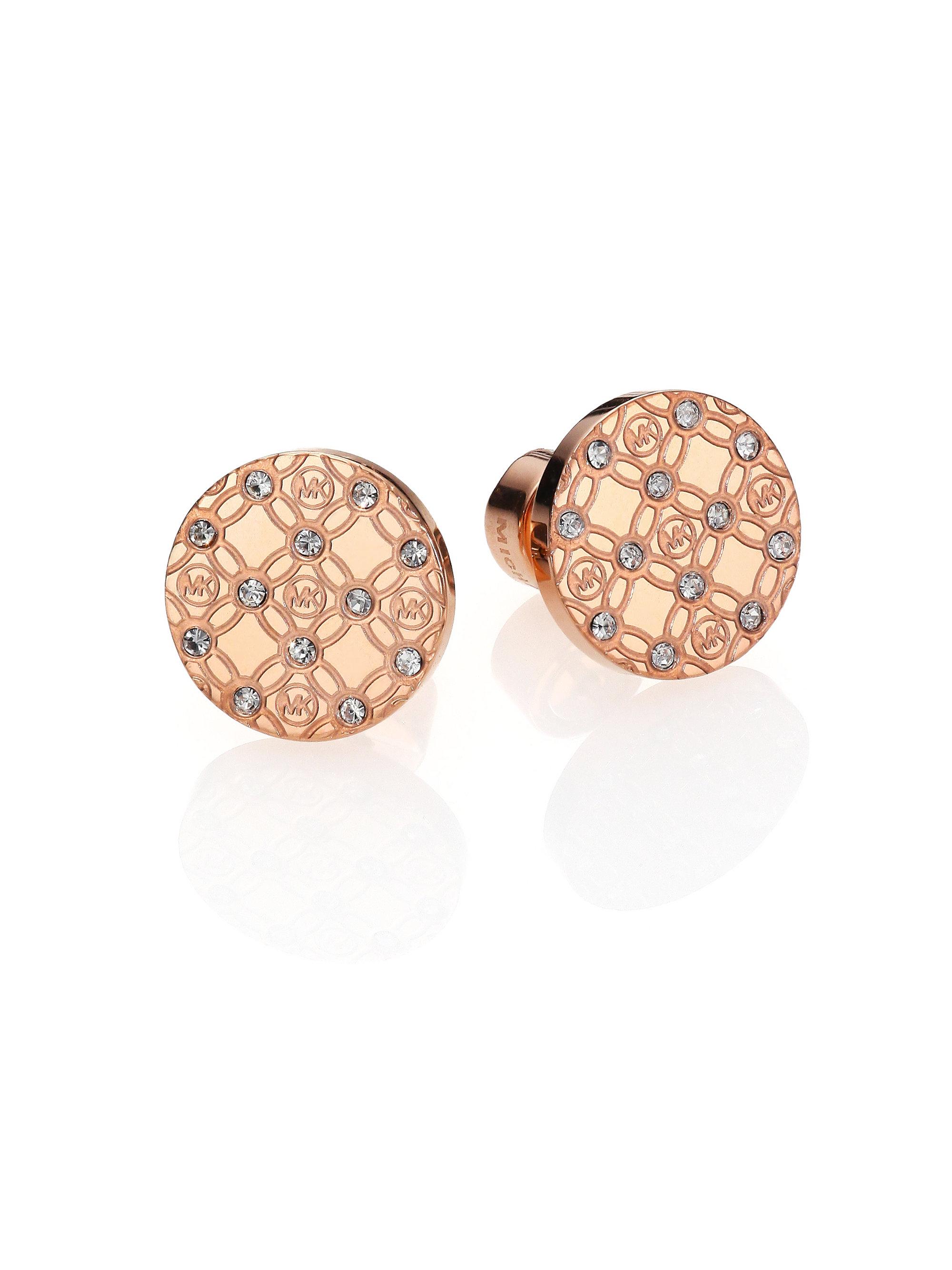 michael kors heritage monogram logo stud earrings  rose goldtone in pink