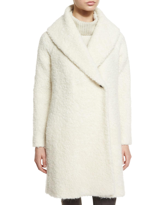 Vince Fuzzy Knit Long Coat in White | Lyst