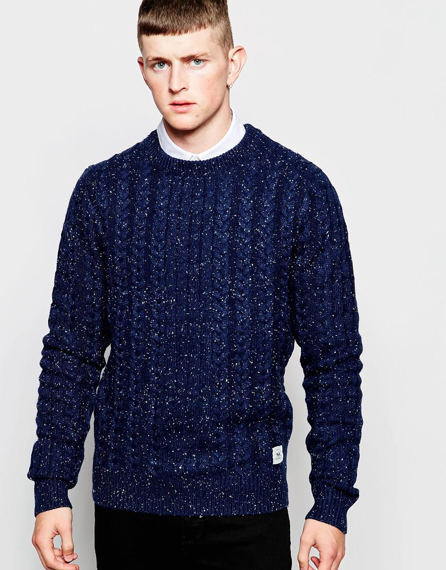 Bellfield Cable Knit Jumper With Fleck in Blue for Men | Lyst