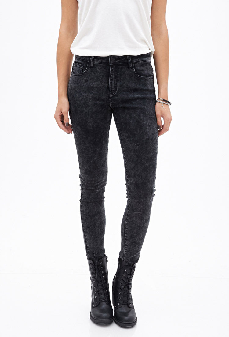 Available In Acid Wash Black High Rise 4 Pockets Distressed Stretch Denim Button And Zipper Closure Patchwork Detail 28