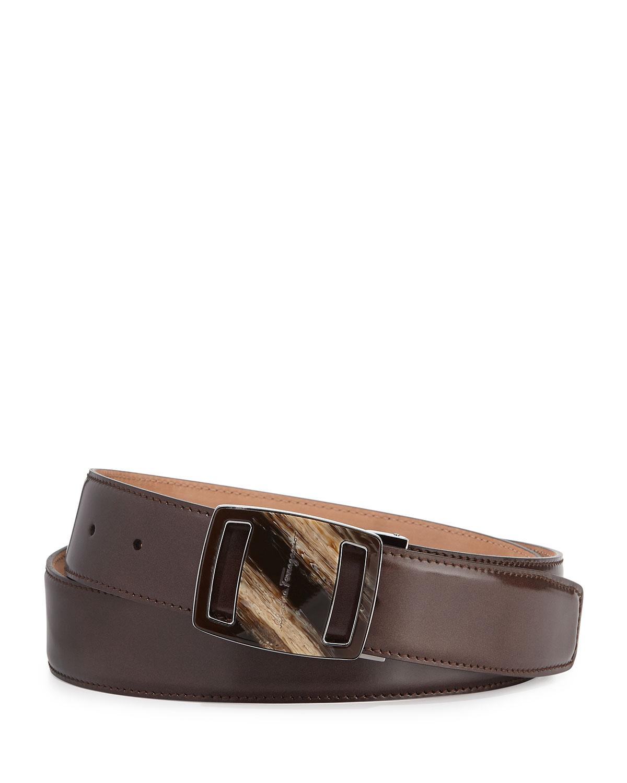 ferragamo vara sardegna oversized leather belt in brown