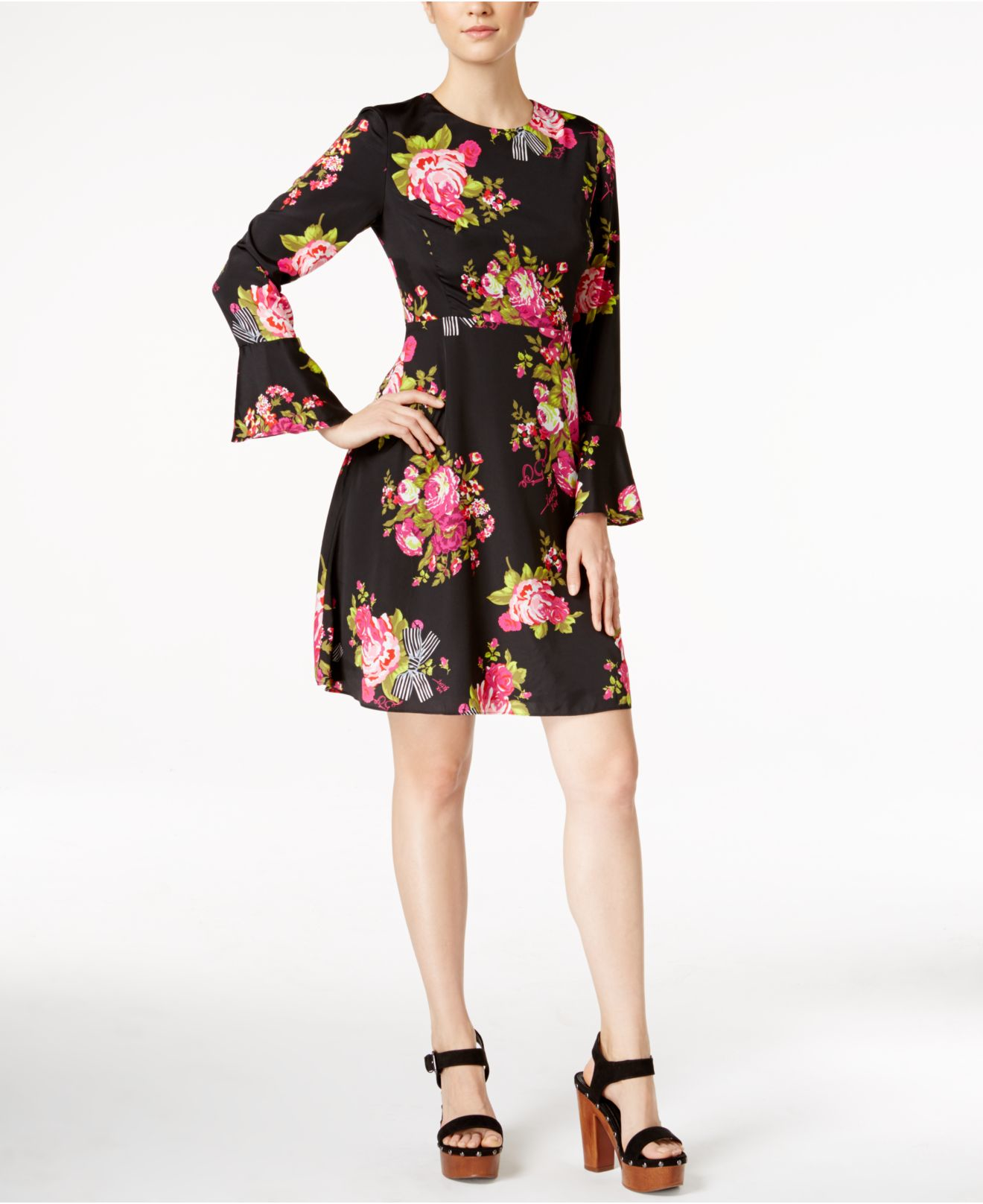 Lyst Betsey Johnson Bell Sleeve Floral Print Peasant Dress