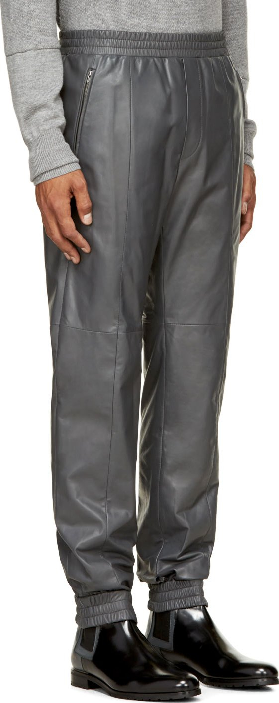 Lyst - Juun.j Grey Leather Jogging Pants in Gray for Men