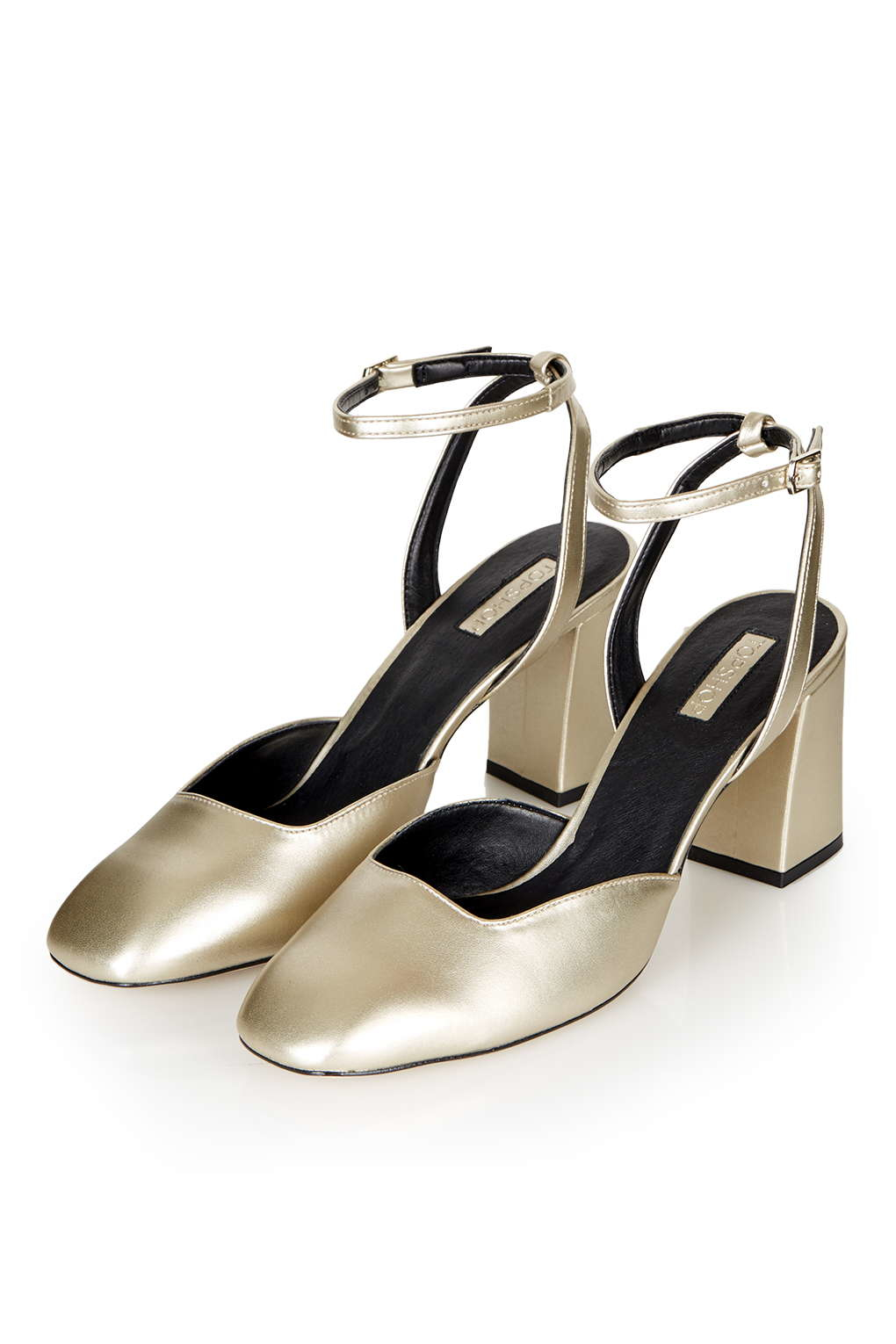 topshop josephine flare heeled leather shoes in metallic