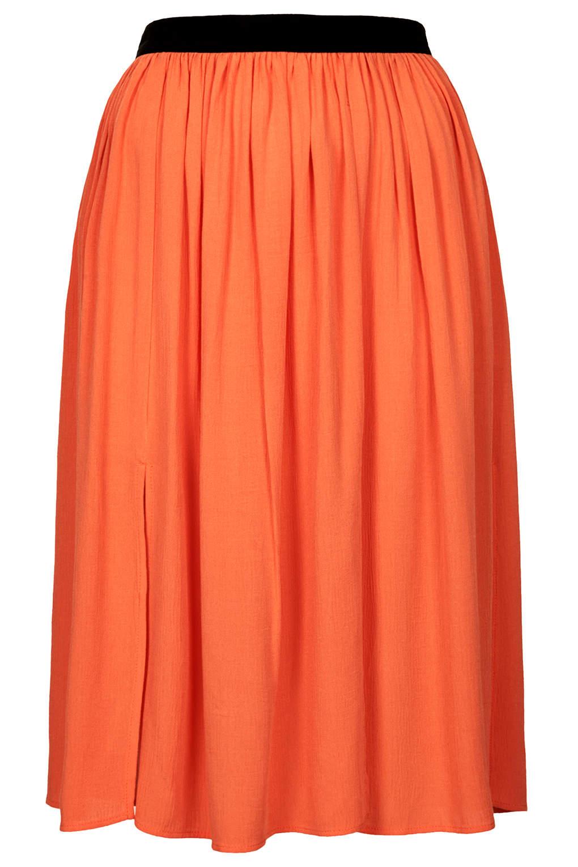 topshop spliced midi skirt in orange coral lyst