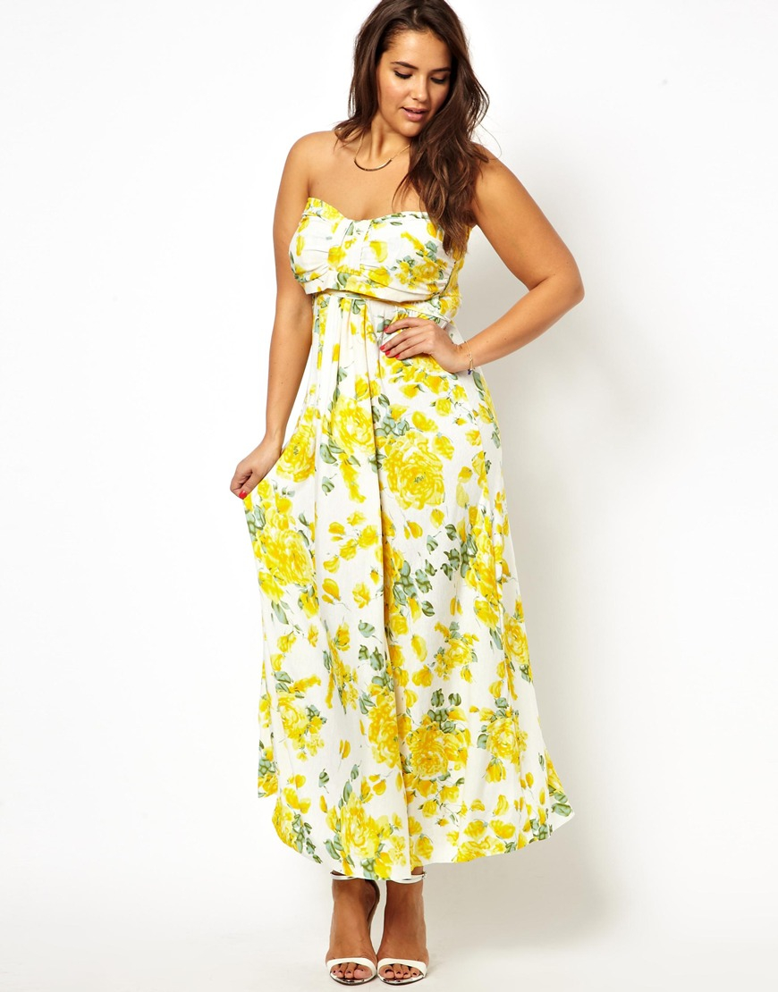 Lyst Ax Paris Curve Floral Slinky Maxi Dress In Yellow