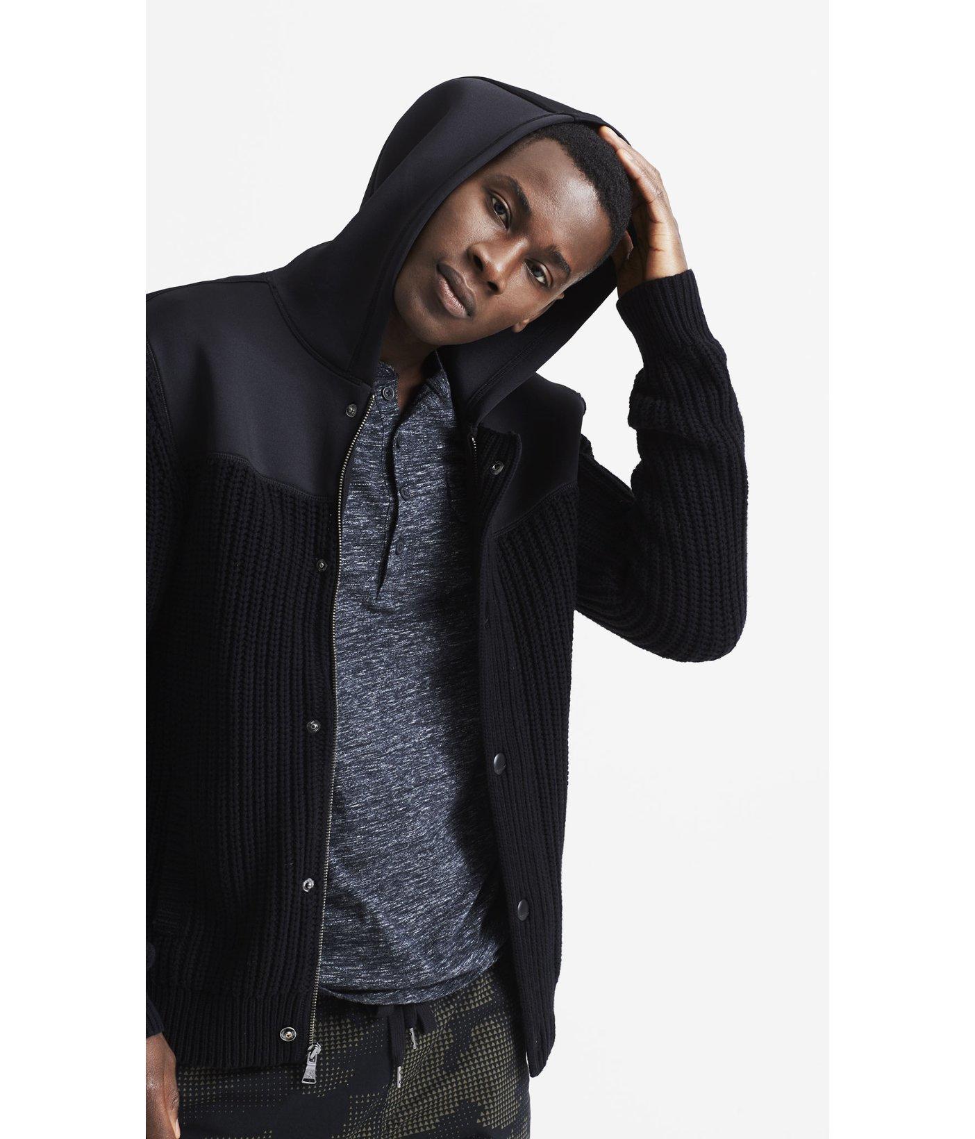 Express Neoprene Hooded Zip Cardigan in Black for Men | Lyst