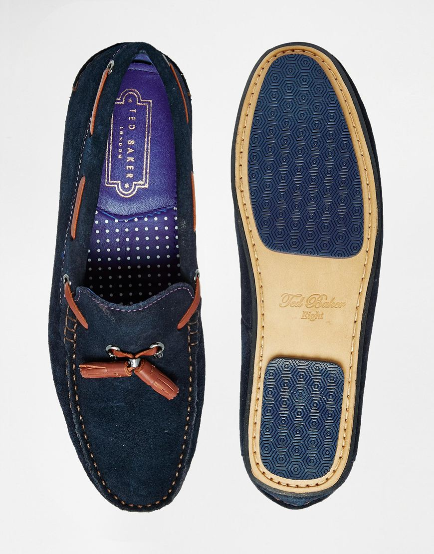 4c4ed6919d4c Lyst - Ted Baker Muddi Leather Driving Shoes in Blue for Men