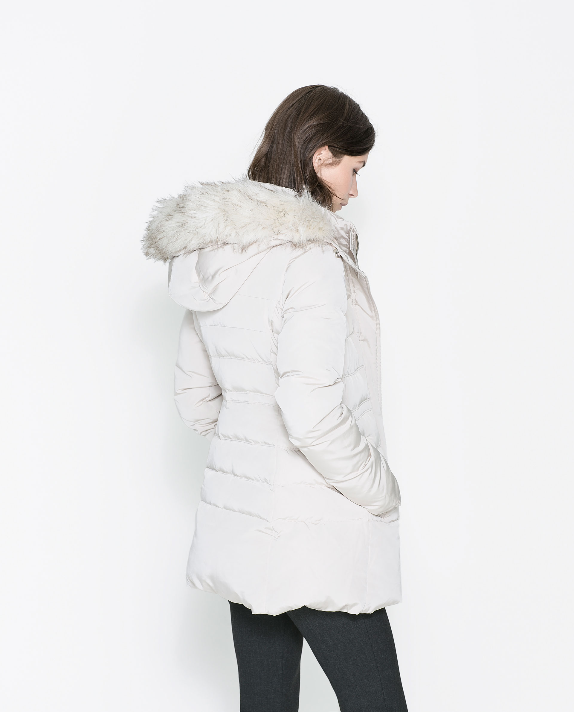 Zara Puffer Jacket With Hood In White Lyst