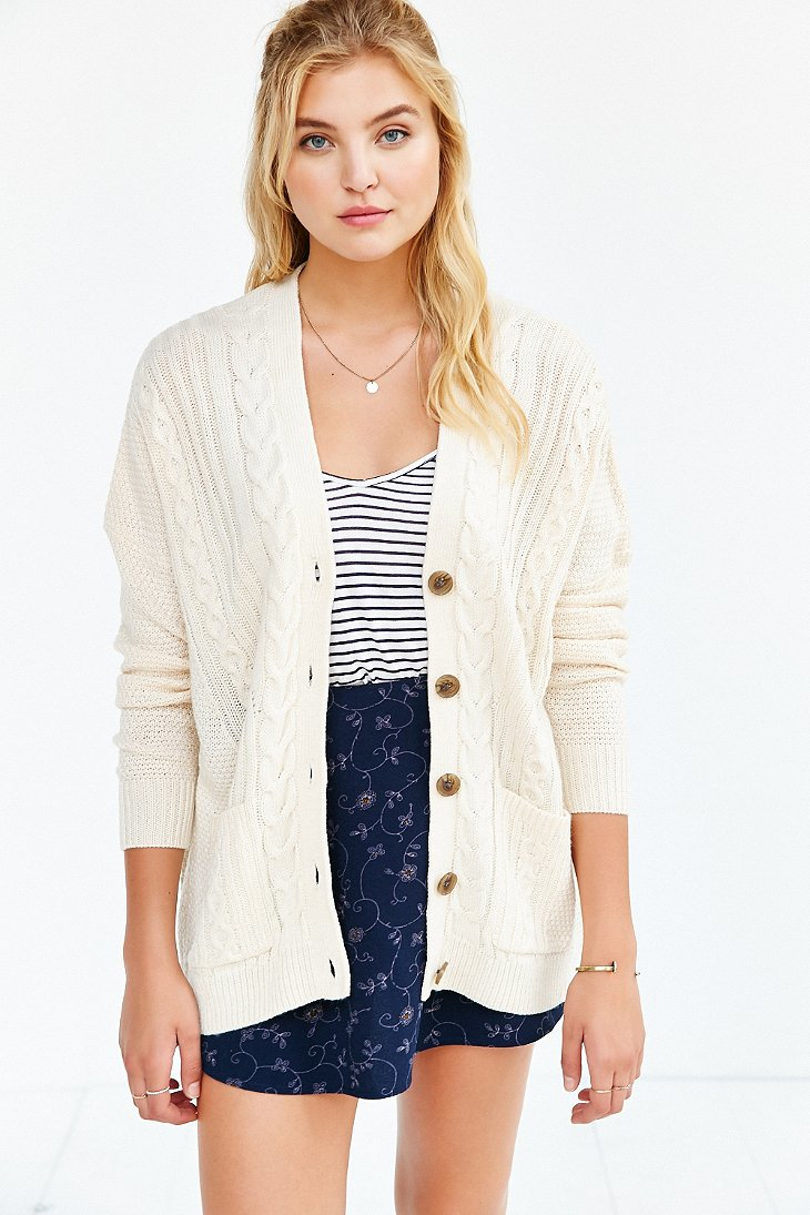 Lyst - BDG Cayla Elbow Patch Cardigan in Natural 90b938fcb