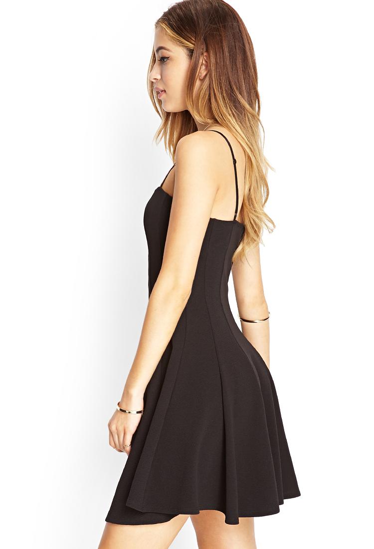 Forever 21 Textured Knit Skater Dress in Black | Lyst